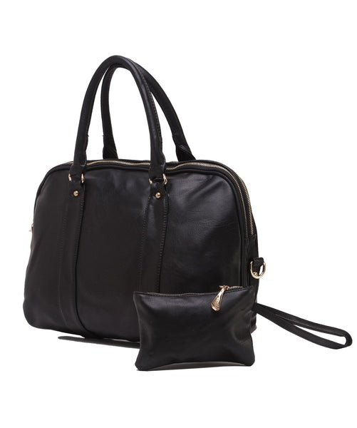 Fiona Trends Black PU Shoulder Bag,6005_BLACK