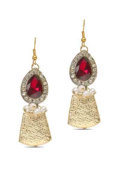 Red Gulal Earrings - JALDEAR9417