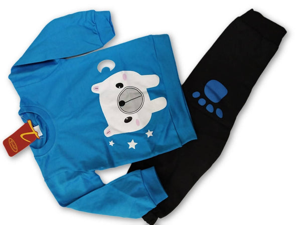 Cute Animal Printed Bear Twin Set Little Boy Girl Two Piece Set Tshirt & Pant for Baby Kids_Blue & Black $ CP-KA15