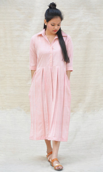 Pink Khadi Cotton Box Pleated Collared Tunic $ IWK-000471