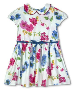 Budding Bees Girls White Floral Gathered Dress