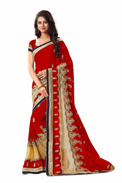 16to60trendz Red Georgette Embroidery Designer Saree $ SVT00269