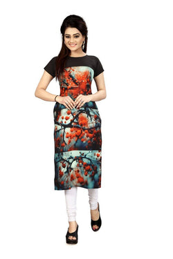 Manvi Fashion Women's Designer Partywear Multi Color American Crepe Fabric Digital Printed Readymade Kurti $ MF 2824