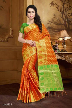 Umang NX Orange Art Silk Designer Weaving Sarees $ UN5238
