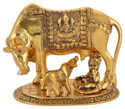 Gold Plated Hindu Religious Laxmi Ganesh Kamdhenu Cow with Calf and LAddu Gopal (18 cm, Silver) Exclusive Gift Items for Diwali Gift, Wedding Gift and Corporate Gift $ IGSPBR1085