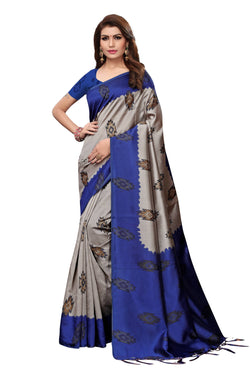 16to60trendz Blue Art Silk Printed Mysore Art Silk Saree $ SVT00209
