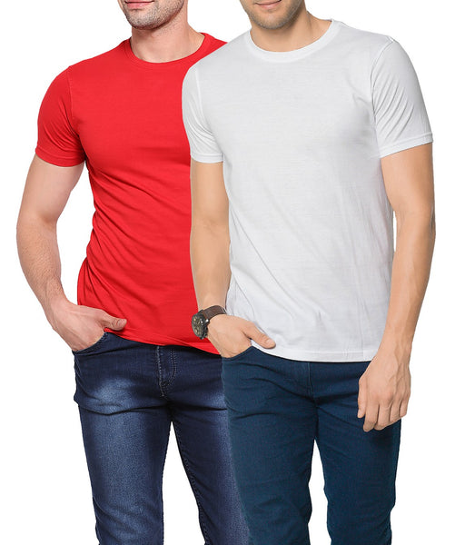 Zorchee Mens Round Neck Half Sleeve Cotton Plain T-Shirts (Pack of 2) - Red & White_ZO-08-11PL