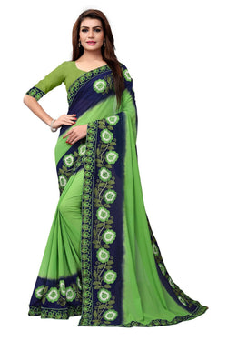 YOYO Fashion Embroidered Georgette Green Saree With Blouse $ SARI2613-Green