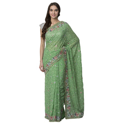 La Vastraa Multi Color Floral Thread Work Saree-SPH37