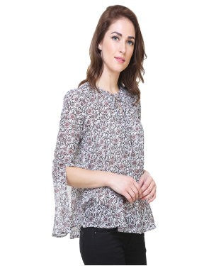 REDPOSE WHITE FLORAL CASUAL TOP