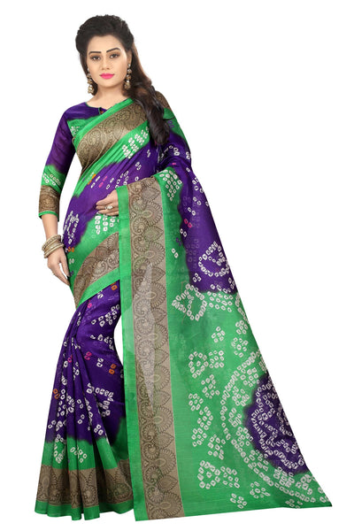 16TO60TRENDZ Green Color Printed Bhagalpuri Silk Saree $ SVT00429