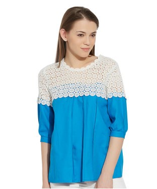 VIRO 3/4th Sleeves Round Neck Cotton fabric Blue TOP