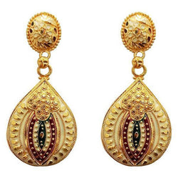Maroon And Green Meenakari Gold Plated Dangler Earrings