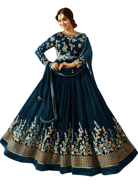 Semi-stitched Designer Faux Georgette heavy Embroidred and Hand work Anarkali Suit $F1196-Blue