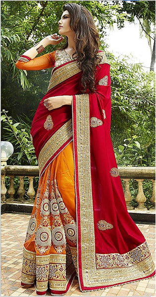 YOYO Fashion Wedding Designer Half Half Red And Orange Silk Saree - F1137