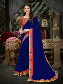 Fashion Zonez Zari Embroidered with lace border Georgette Blue Designer Saree With Blouse $FZ 1993