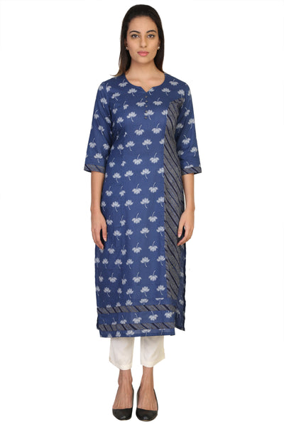 Vaniya Women Cotton Kurta Navy Blue Printed Kurti $ VN-K127