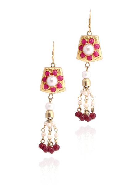 Laal Phool Earrings - JALDEAR8415