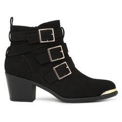 London Rag Women's Black Studed Ankle Boots-SH1604BLACK