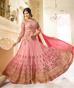 YOYO Fashion Light Pink Designer Faux Georgette heavy Embroidred and Hand work Anarkali Suit $ F1198