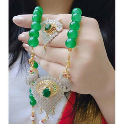 Gold Plated Brass Hand Crafted Work Women's Green Peacock Necklace set $ AF788638
