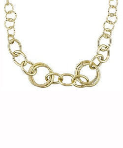 Circle Link 18k Yellow Gold Over Bronze Necklace