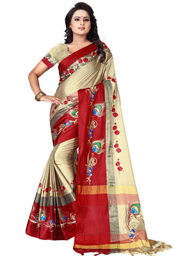 YOYO Fashion Polyester Beige Embroidered Saree With Blouse $YOYO-S-SARI2606