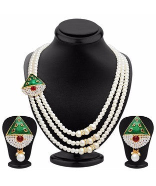 Sukkhi Cluster Three Strings Gold Plated AD Necklace Set