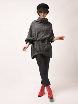 Aiyra Black Color wollen turtle neck asymmetric poncho $ AR15800303_free size