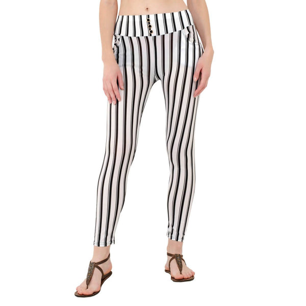 Baluchi's Vertical Striped Black and White Jeggings $ BLC_JEG_06