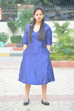 Blue Khadi Silk Wrap Dress $ IWK-000473