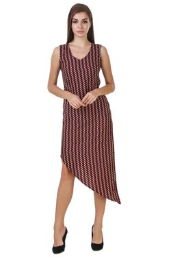 Fashians Zig Zag Print Sleeveless Maroon Dress $ FS-1700008