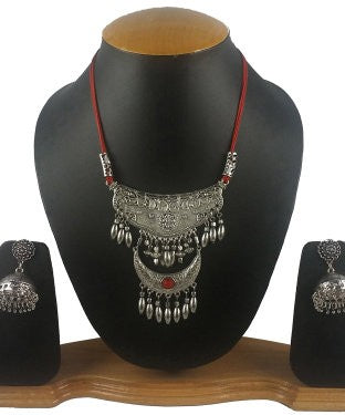 Aradhya Sterling Silver Jewel Set (Red, Silver)