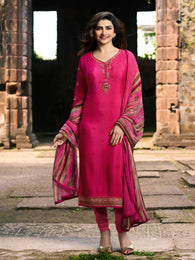 YOYO Fashion Pink Crepe Straight Semi-Stitched Salwar Suit With Dupatta $ F1292
