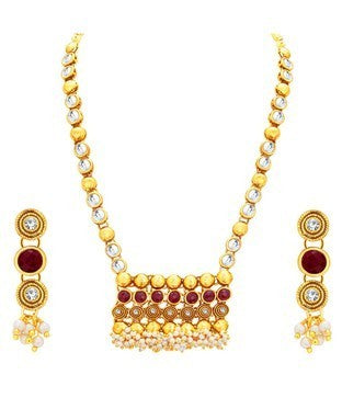Sukkhi Creative Jalebi Gold Plated Kundan Necklace Set For Women