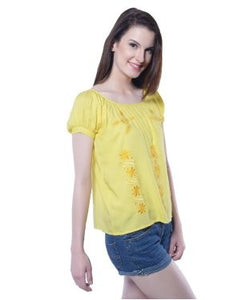 Florrie Fusion Yellow S/S Top