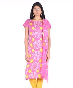 Soundarya Cotton Bandhej Unstitched Dress Material
