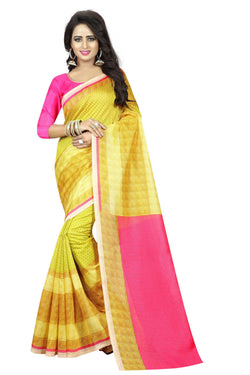 16TO60TRENDZ Yellow Color Printed Bhagalpuri Silk Saree $ SVT00499