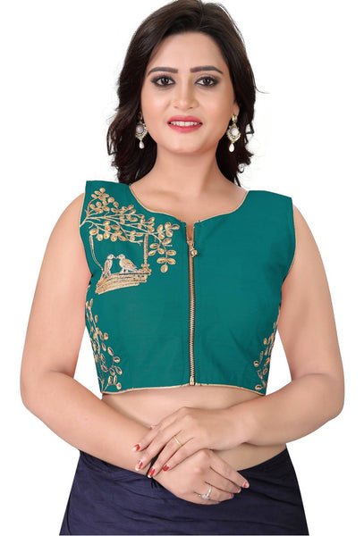 YOYO Fashion Turquoise Malbari Embriodered Extra Sleeve With Blouse $ YOYO1-BL4008-Turquoise