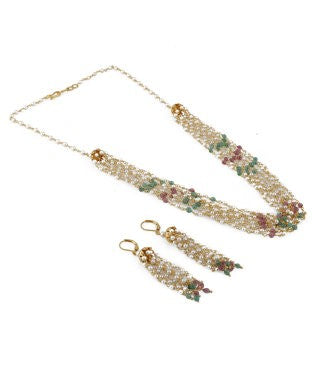 Aradhya Alloy Jewel Set (Gold, Red, White, Green)