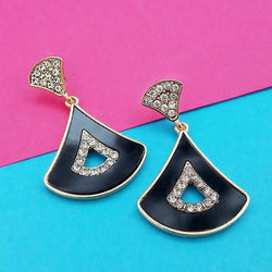 Tanishka Fashion Black Enamel Gold Plated Austrian Stone Dangler Earrings $ 1314115B