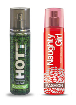 HOTT Mens CALYPSO & Naughty Girl FASHION- (Set of 2 Perfume for Couple) (135ml each)