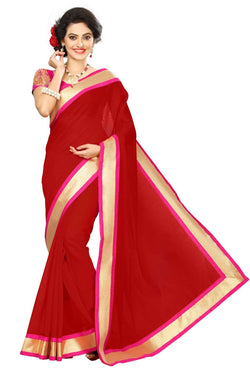 16to60trendz Red Chanderi Lace Work Chanderi Saree $ SVT00075