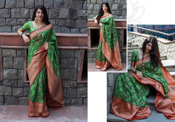Fashion Zonez Patola weving work Banarasi Patola Silk Green Designer Saree With Blouse $ FZ 2731