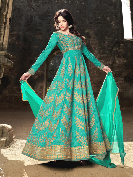 YOYO Fashion Bolywood Designer Latest Turquoise Embroidered Anarkali Salwar Suit - F1116