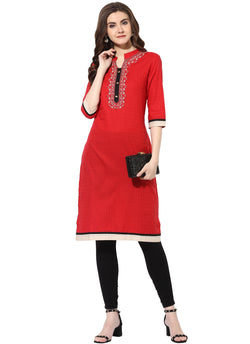 Mytri Women's Red Rayon Embroidered Straight Kurta $ 9000506-RED