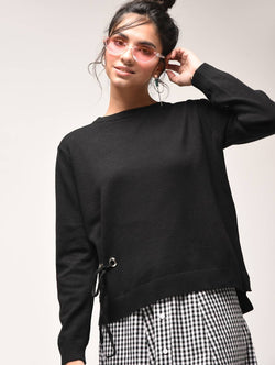 Aiyra Black Color crew neck eyelet lace up sweatshirt $ AR15900915