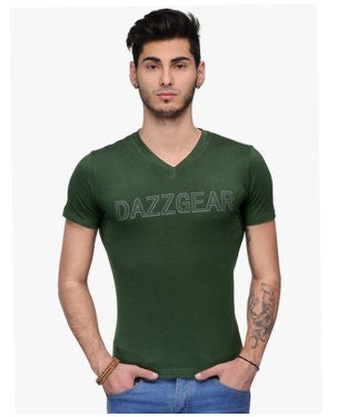 Dazzgear Men's Green V Neck MTV-61 T-Shirt