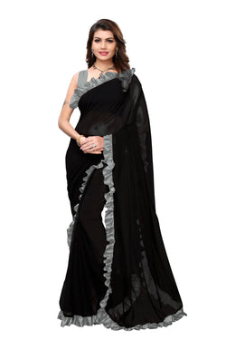 YOYO Fashion Georgette Plain Black saree with Blose $ SARI2654-Grey
