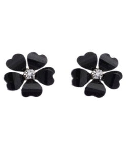 Golden Peacock Black Floral Shaped Stud Earring